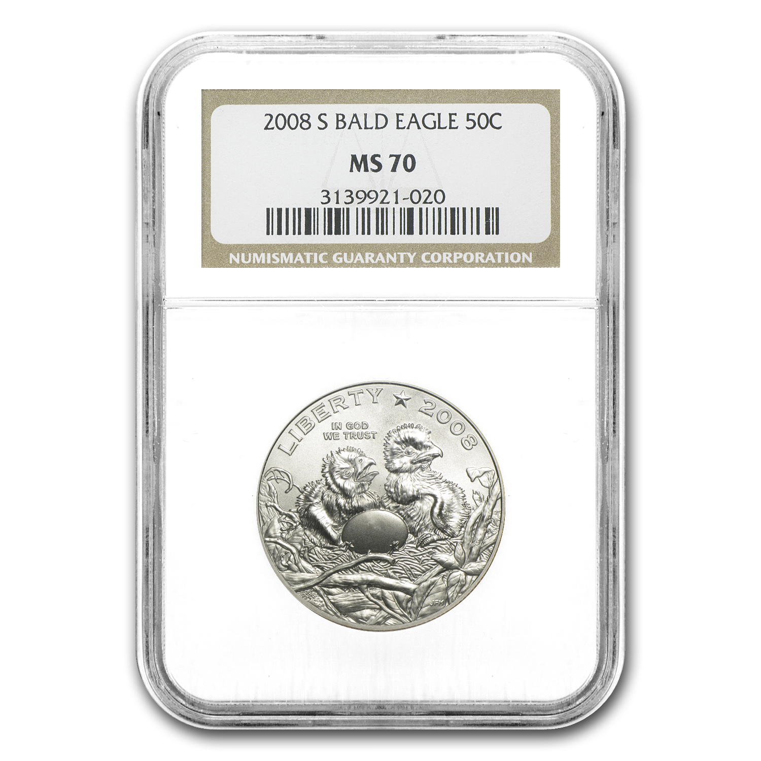 2008-S Bald Eagle 1/2 Dollar Clad Commem MS-70 NGC