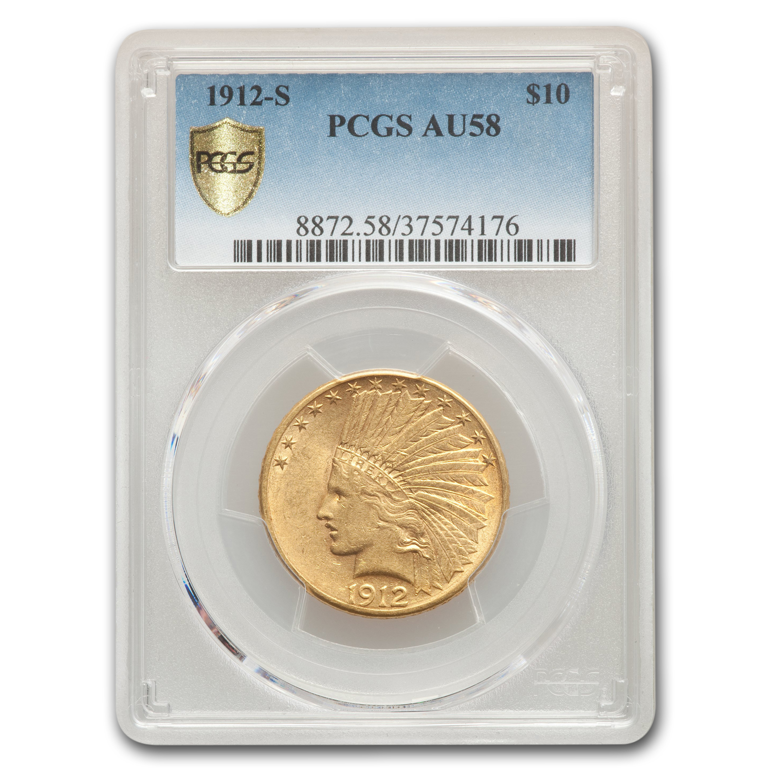 1912-S $10 Indian Gold Eagle AU-58 PCGS