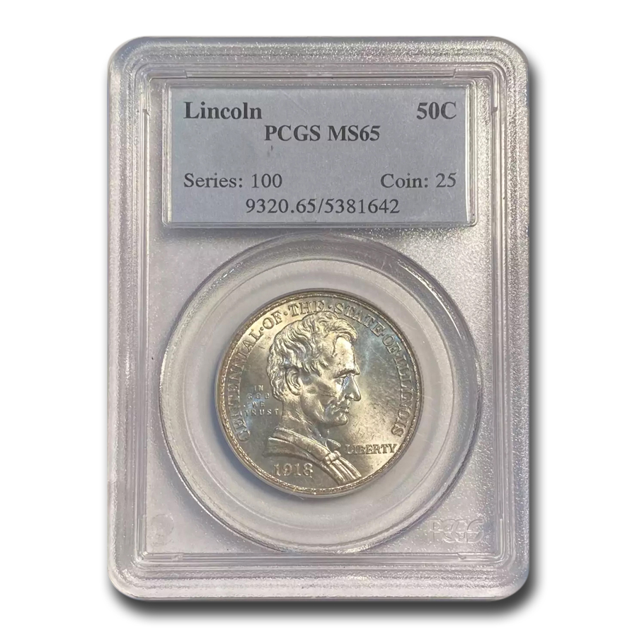 1918 Lincoln Illinois Centennial Half Dollar MS-65 PCGS