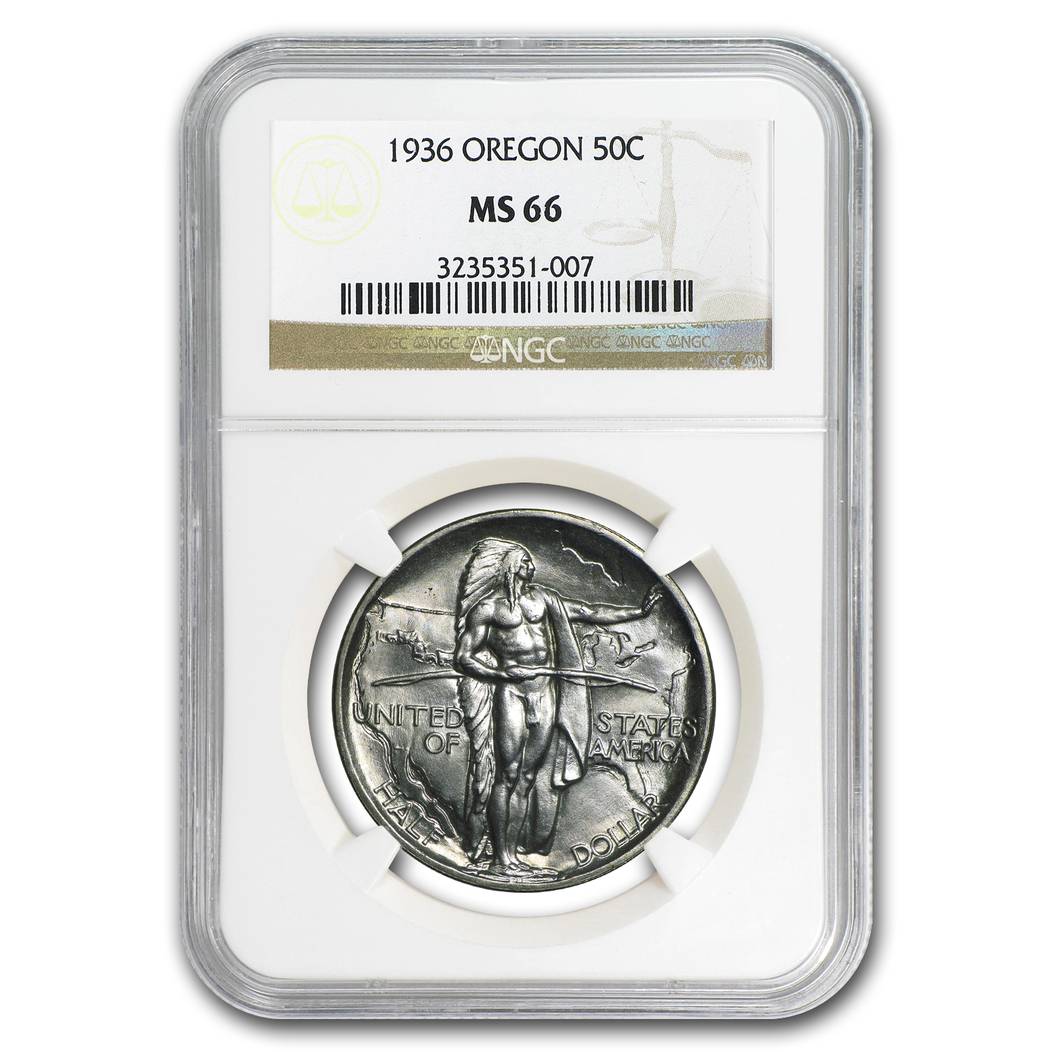 1936 Oregon Trail Commemorative Half Dollar MS-66 NGC