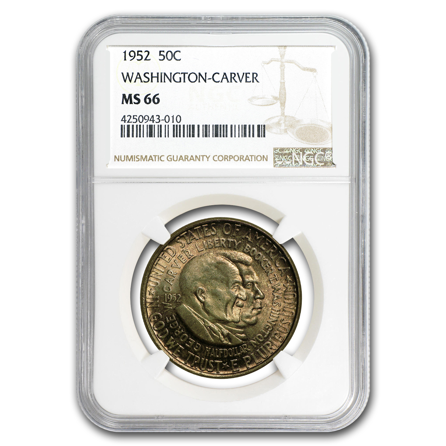 1952 Washington-Carver Half Dollar MS-66 NGC