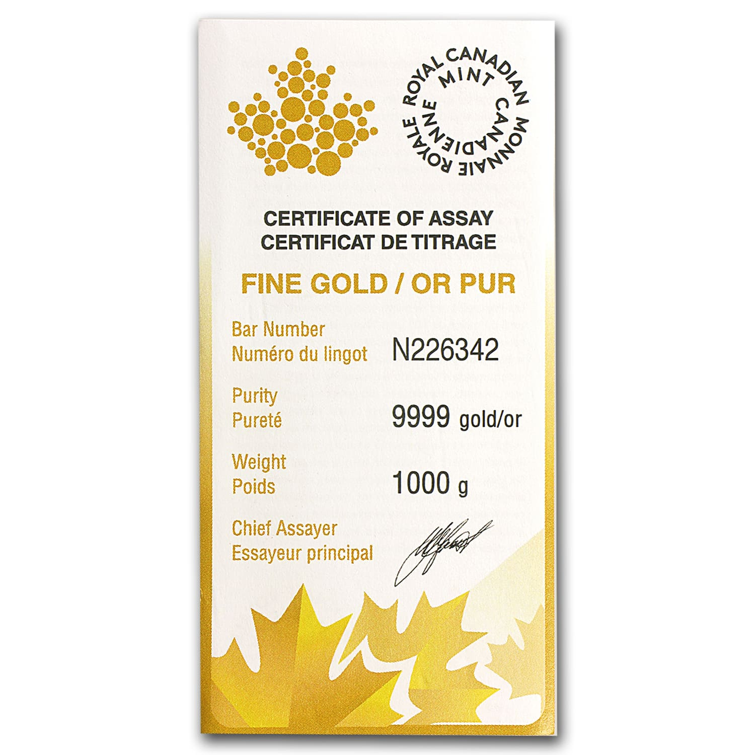 1 kilo Gold Bar - Royal Canadian Mint RCM (Aug 5th)