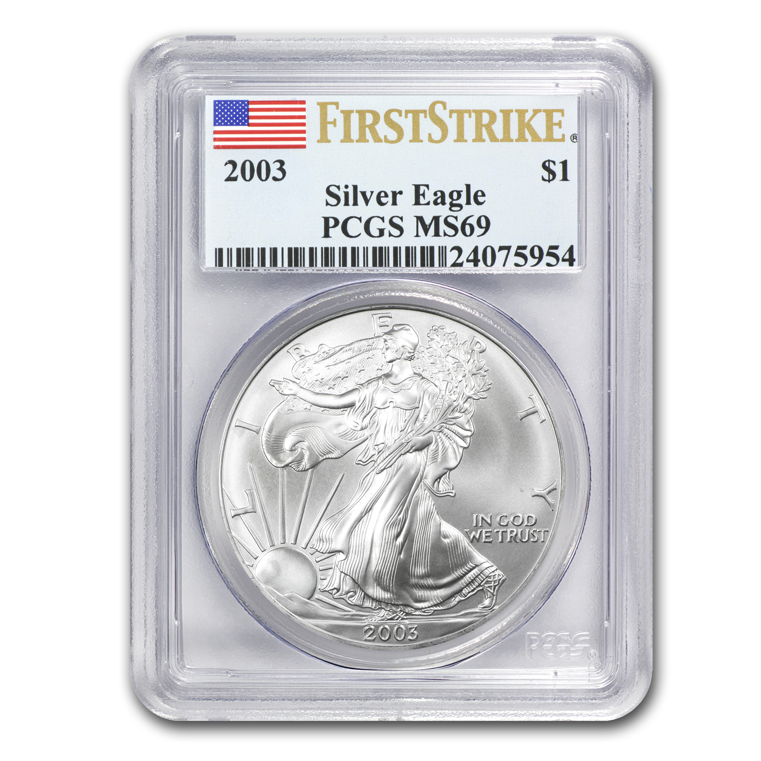 2003 Silver American Eagle MS-69 PCGS (First Strike)
