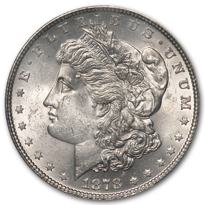 1878 Morgan Dollar-7 TF Rev. of 78-MS-63 PCGS VAM-100 Type-1 Obv