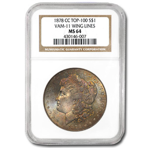 1878-CC Morgan Dollar MS-64 NGC (VAM-11, Eagle's Wing, Top-100)