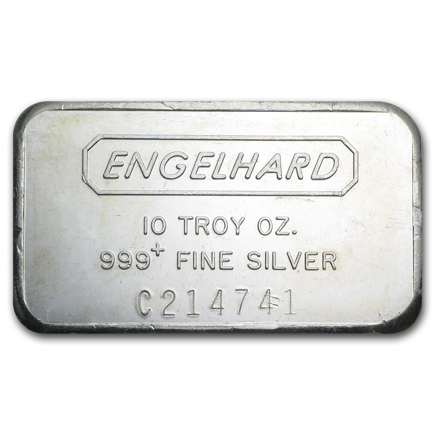 10 oz Silver Bar - Engelhard (Wide/Struck/Logo Back)