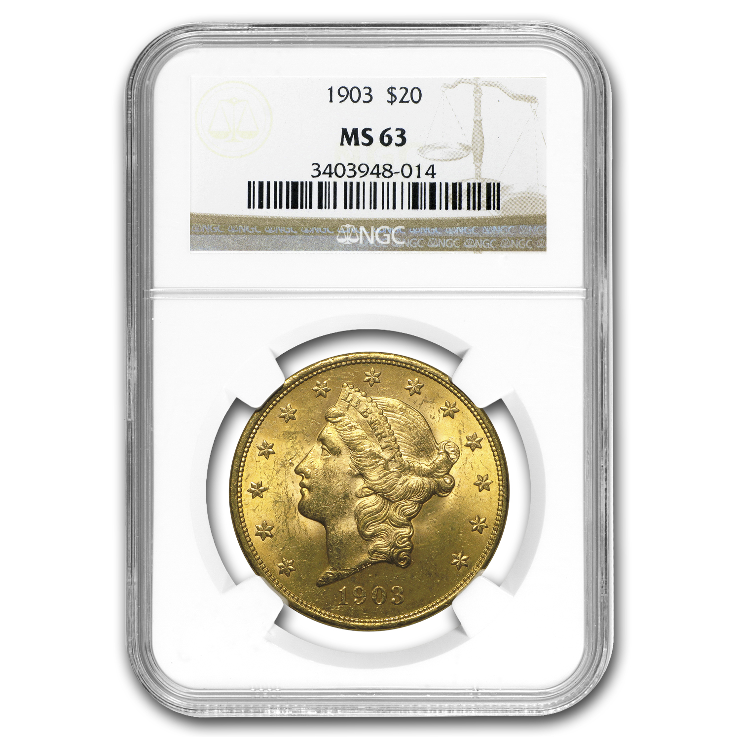 1903 $20 Liberty Gold Double Eagle MS-63 NGC