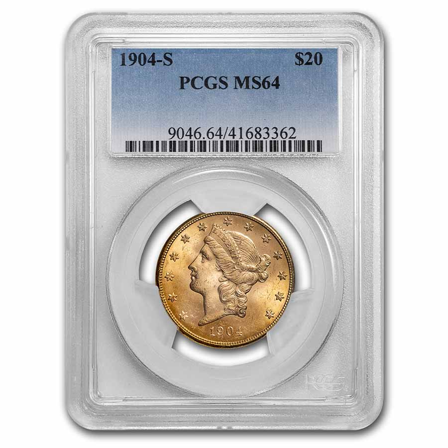 1904-S $20 Liberty Gold Double Eagle MS-64 PCGS