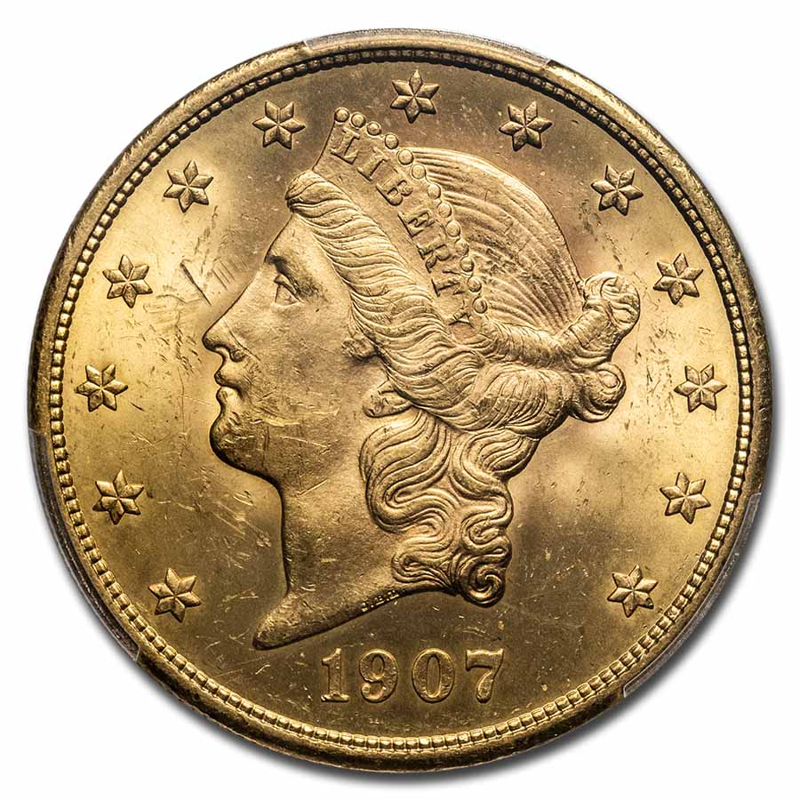 1907 $20 Liberty Gold Double Eagle MS-63 PCGS