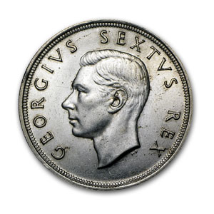 1952 South Africa Silver 5 Shillings George VI Ship AU