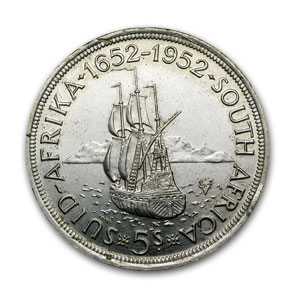 South Africa 1952 5 Shillings Silver AU/Better George VI Ship