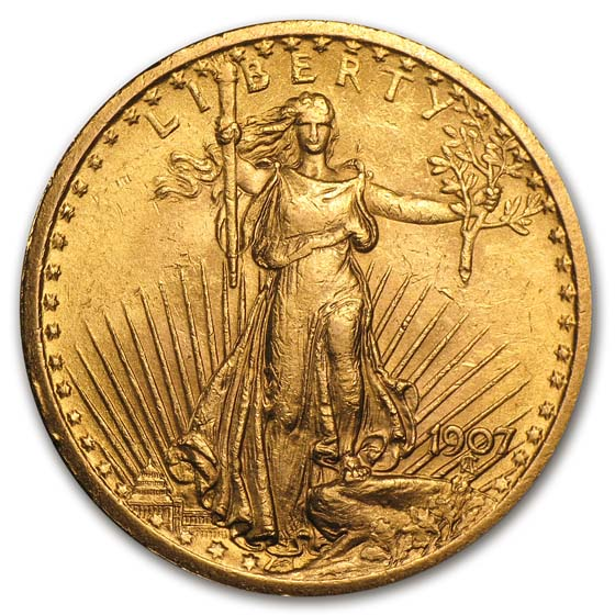 1907 $20 St. Gaudens Gold Double Eagle AU