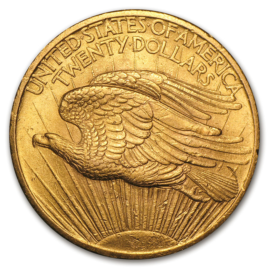 1907 $20 St. Gaudens Gold Double Eagle - Almost Uncirculated