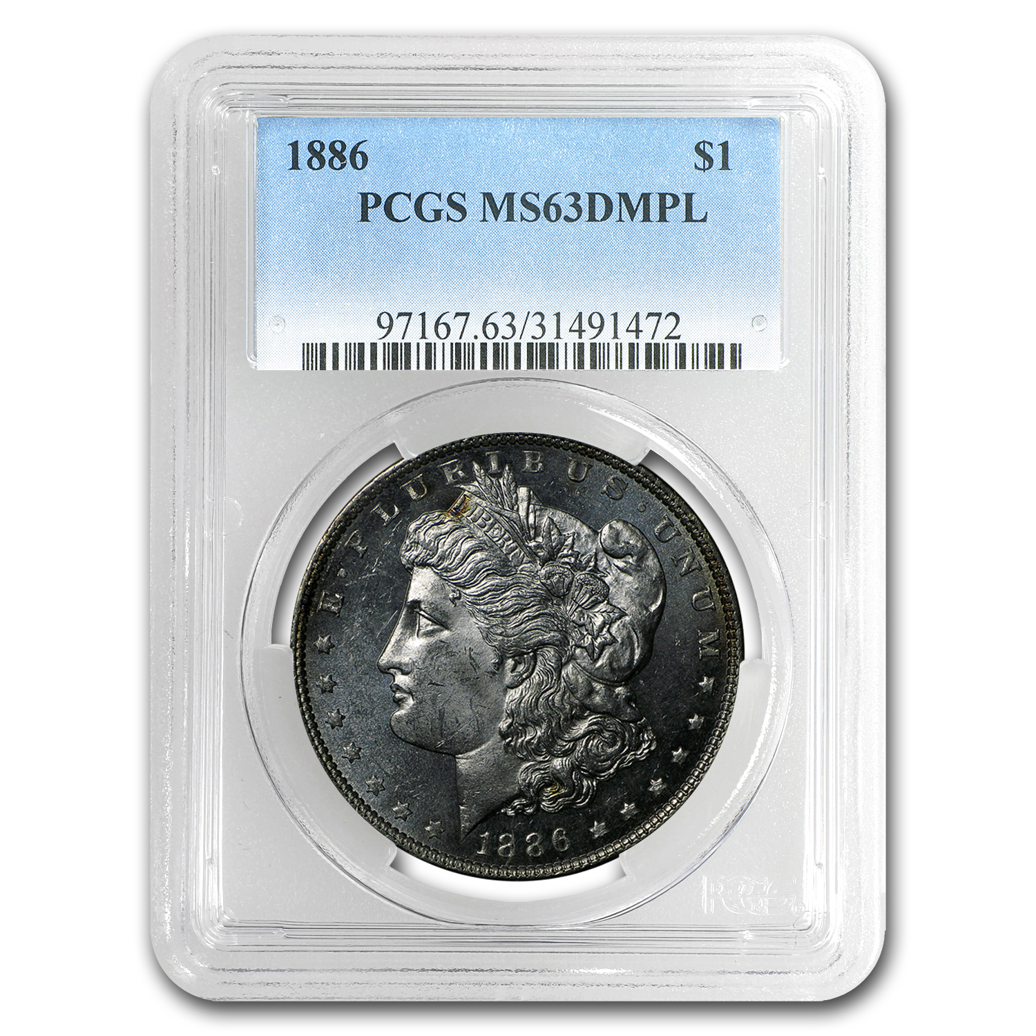 1886 Morgan Dollar MS-63 DMPL PCGS