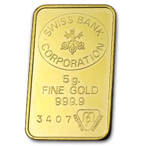 5 gram Gold Bar - Swiss Bank Corporation