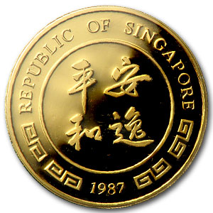 1987 Singapore 5-Coin Gold Singold Rabbit Proof Set