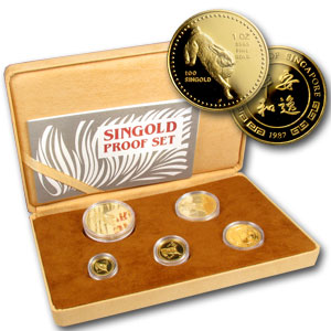 Singapore 1987 Singold Rabbit (5 Coin) Gold Proof Set