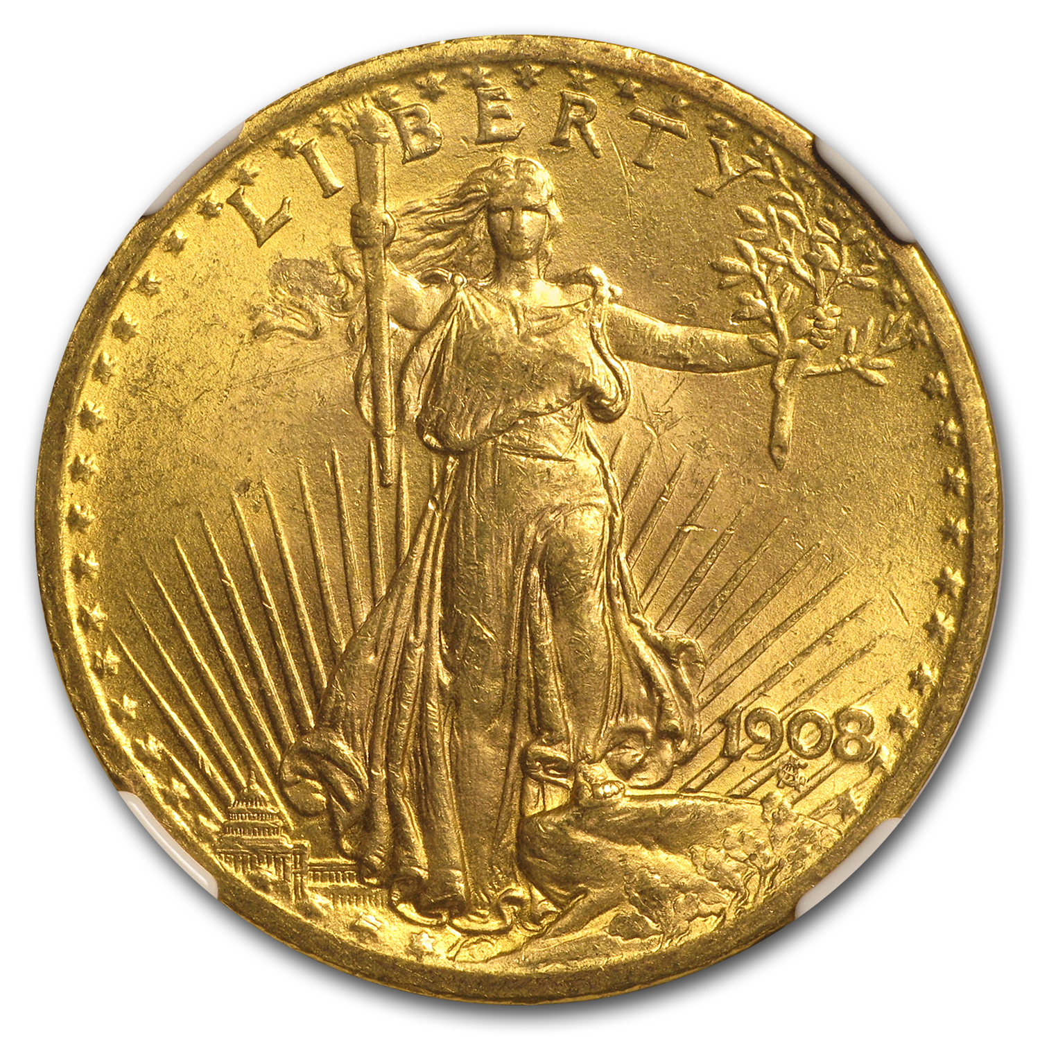 1908 $20 St. Gaudens Gold Double Eagle No Motto MS-62 NGC