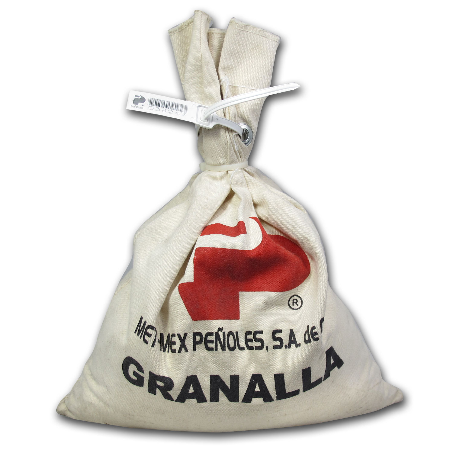 25 kilo (803.75 oz) Bag Silver Grain/Shot .9999+ Fine (Peñoles)