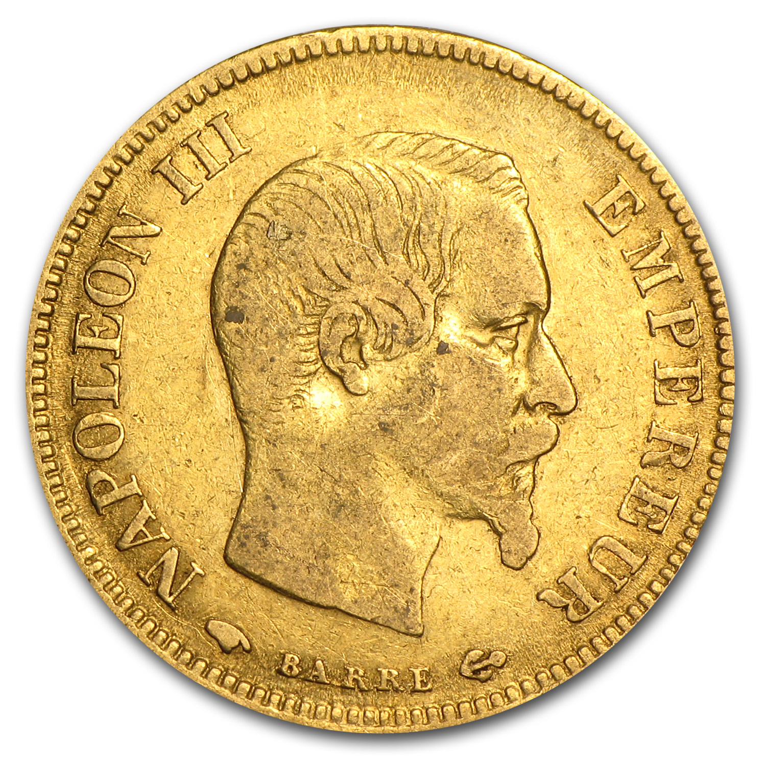 France Gold 10 Francs Napoleon III Average Circ