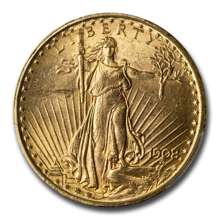 1908 $20 St. Gaudens Gold Double Eagle No Motto MS-63 PCGS