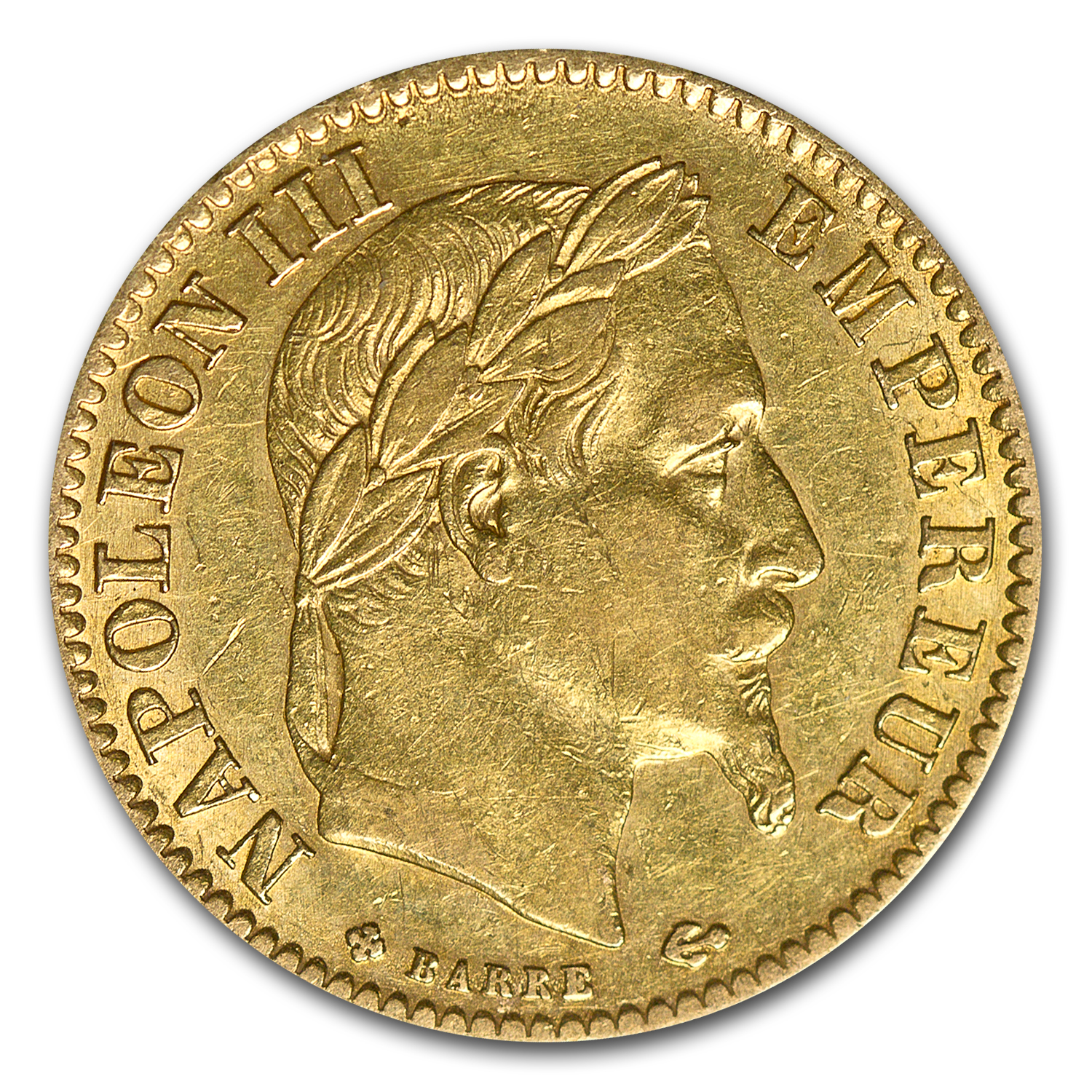 France Gold 10 Francs Napoleon III XF