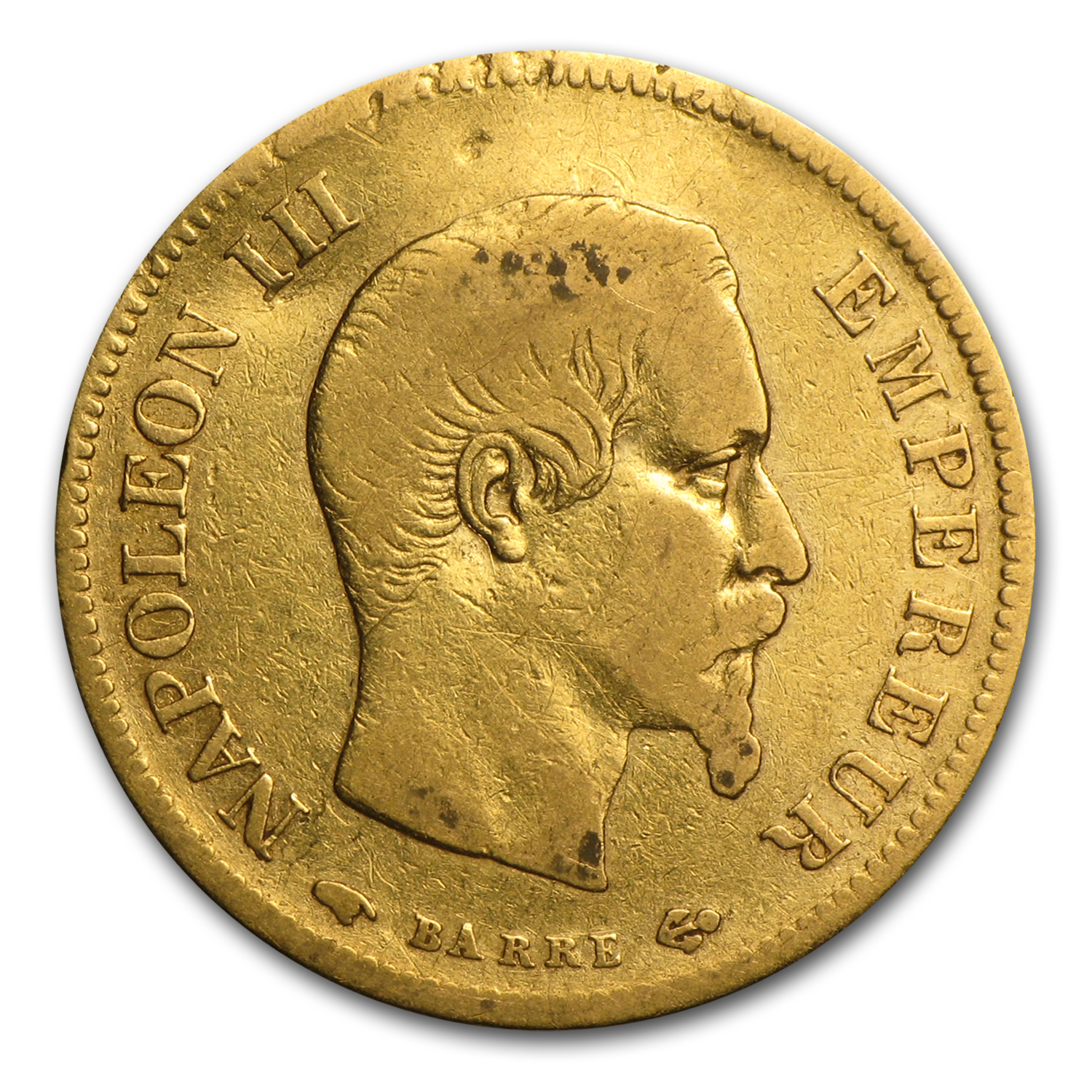 France Gold 10 Francs (Napoleon III) (Cleaned/Damaged)