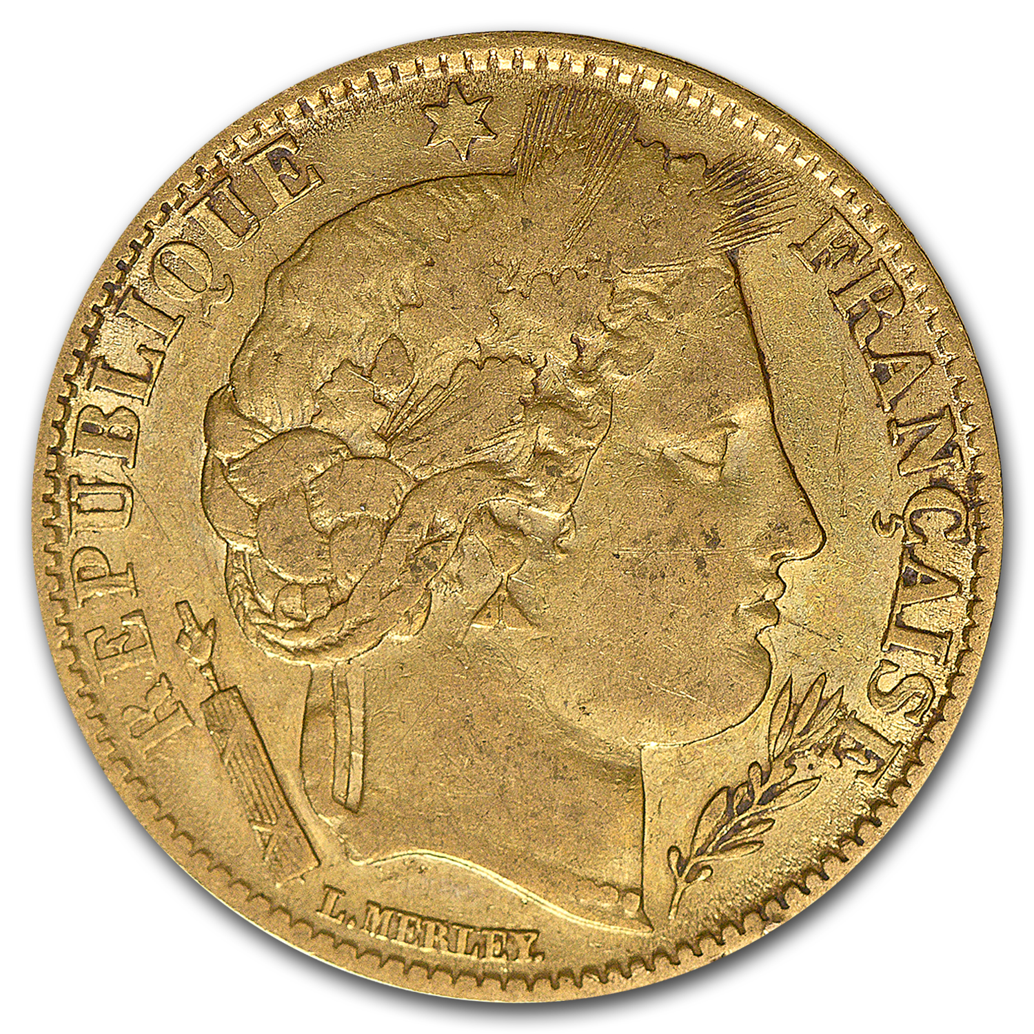 1850-1851 France Gold 10 Francs Ceres Head Average Circ