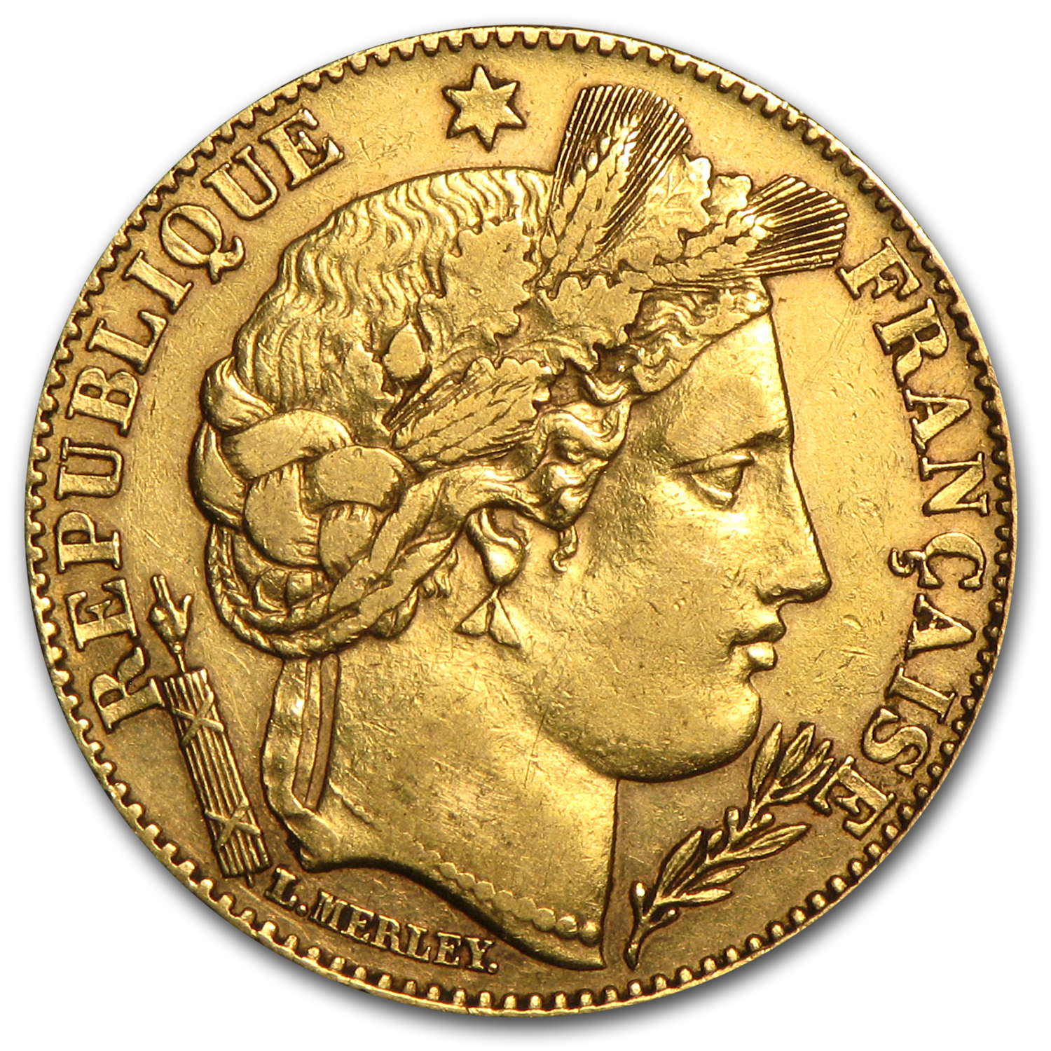 1895-1899 France Gold 10 Francs Late Head Ceres Avg Circ