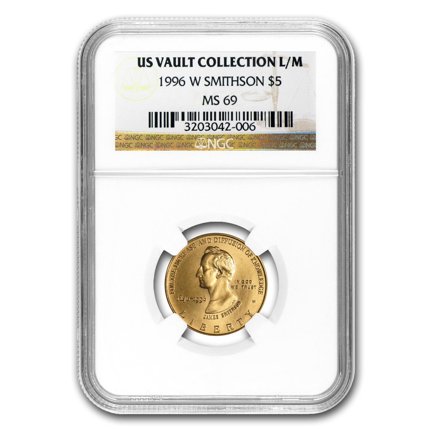 1996-W Gold $5 Commem Smithsonian Anniversary MS-69 NGC