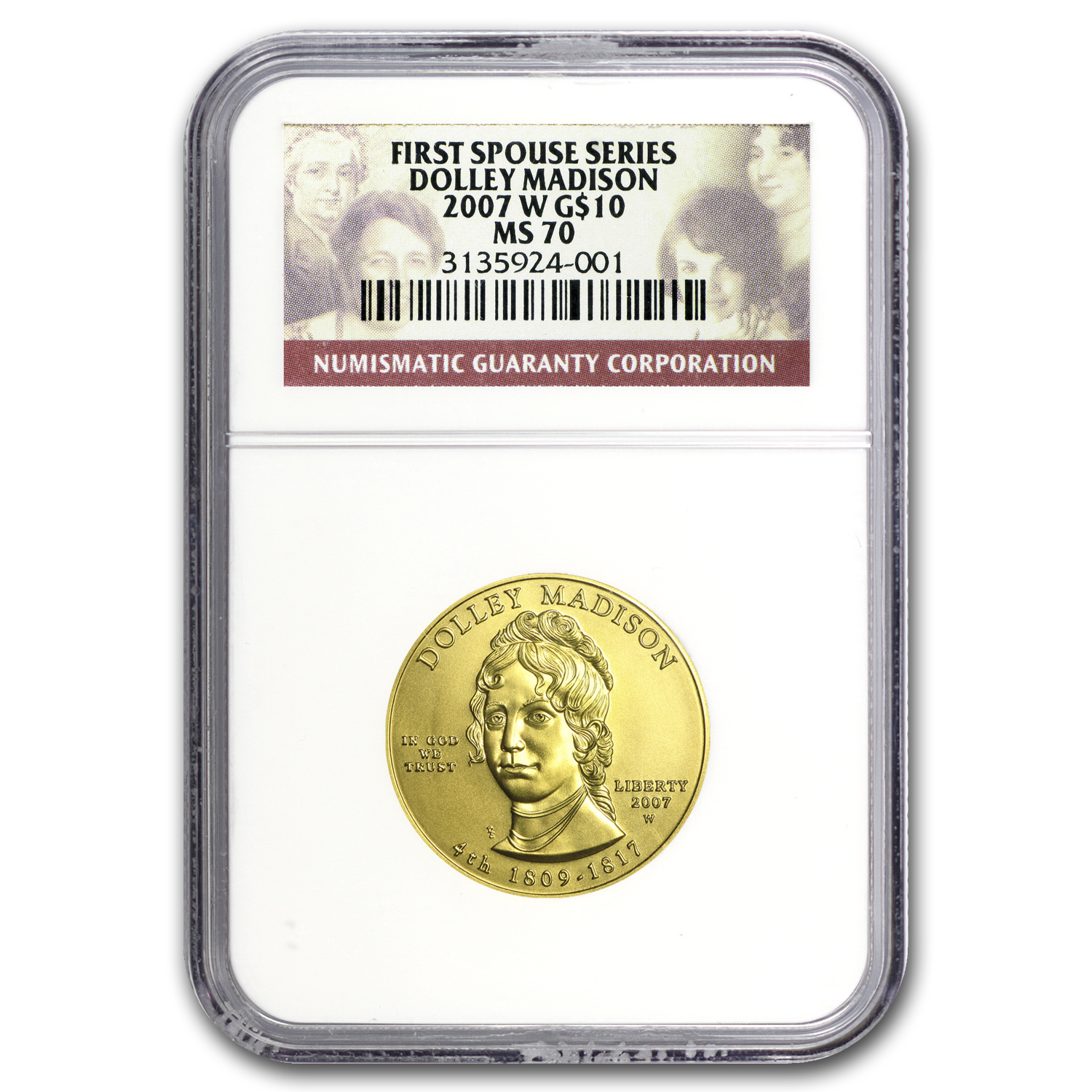 2007-W 1/2 oz Gold Dolley Madison MS-70 NGC