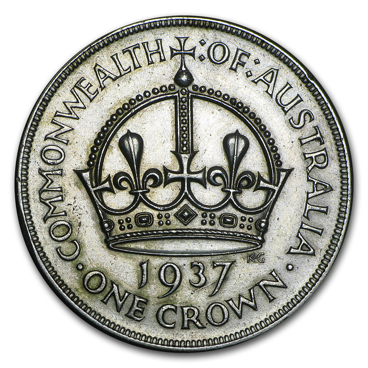 1937 Australia Silver Crown George VI XF