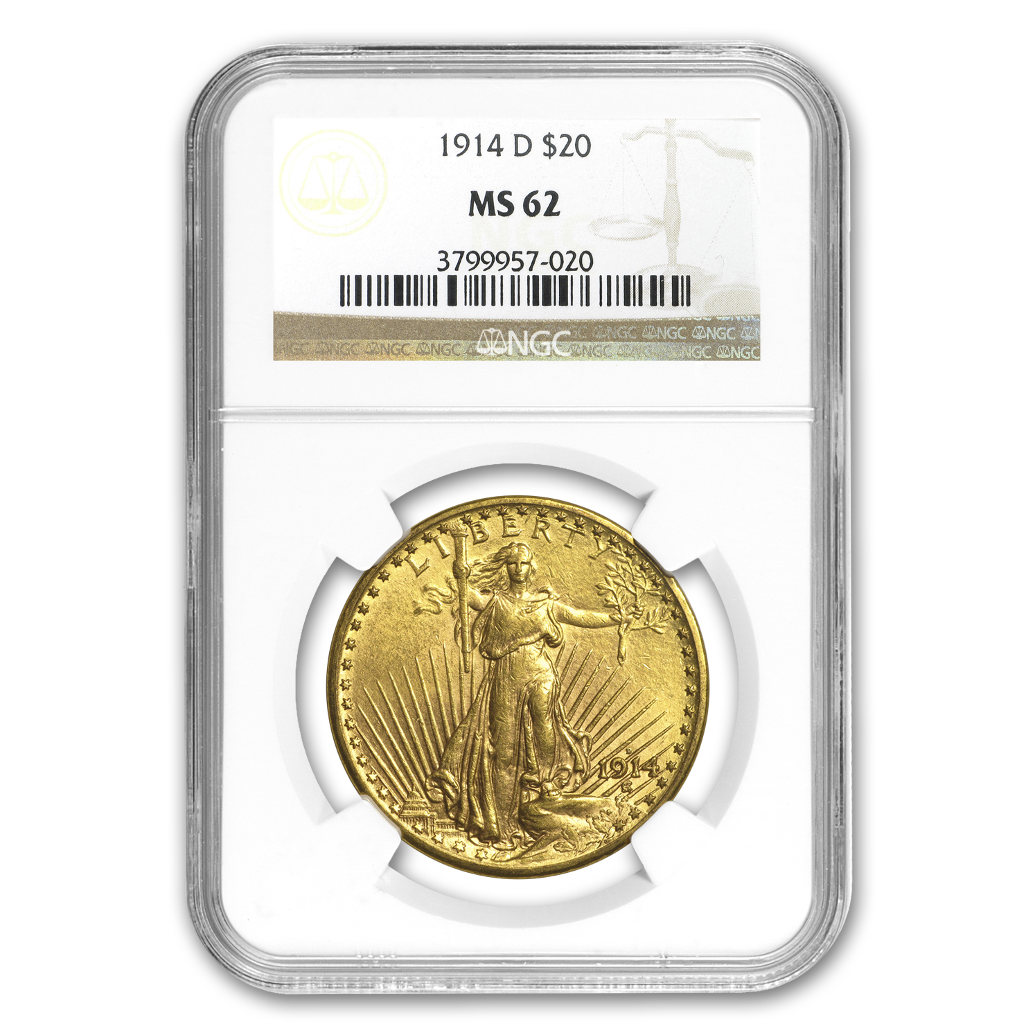 1914-D $20 Saint-Gaudens Gold Double Eagle MS-62 NGC