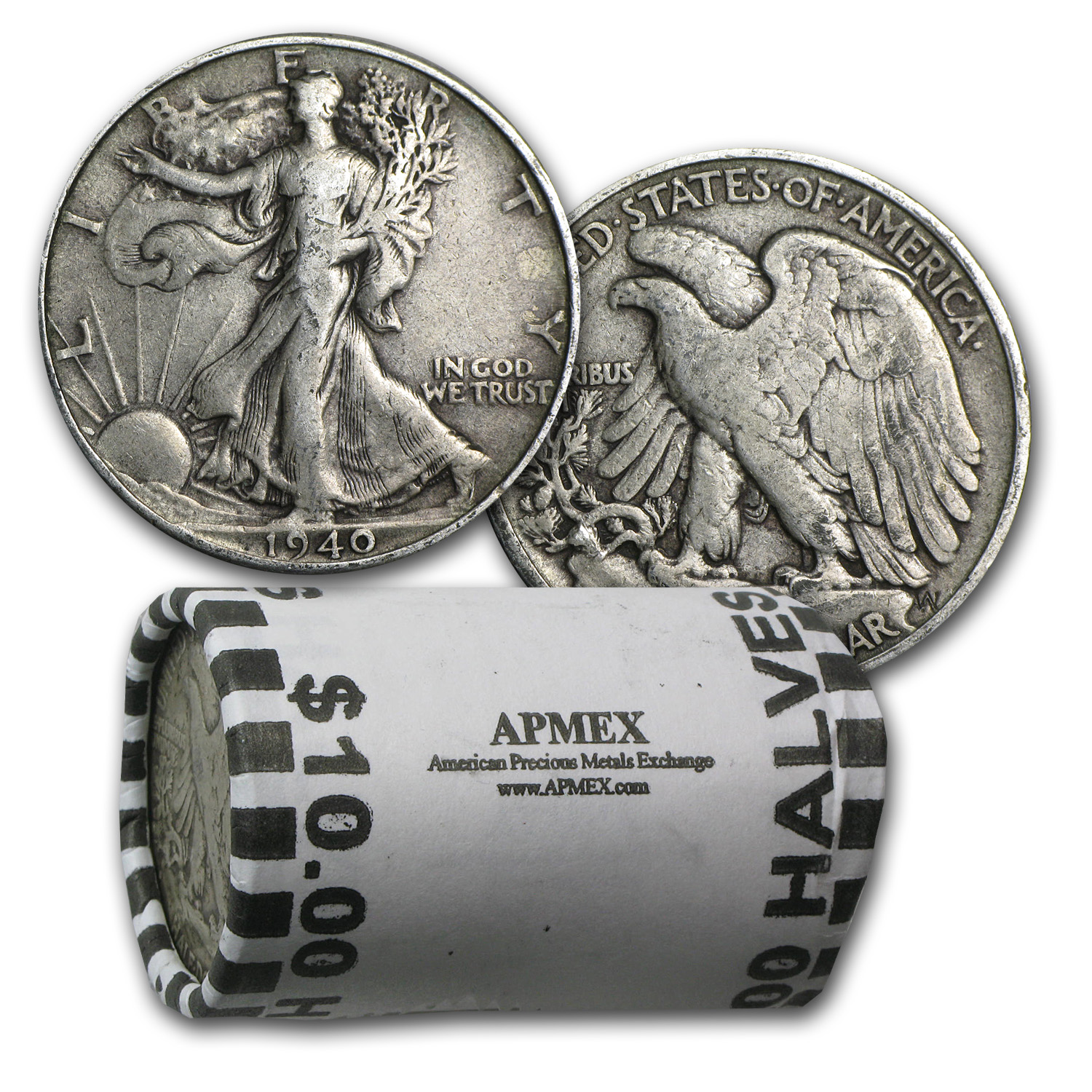 90% Silver Walking Liberty Halves $10 20-Coin Roll VF