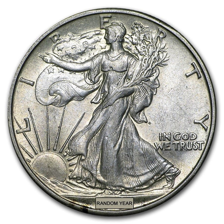 90% Silver Walking Liberty Halves $10 20-Coin Roll AU