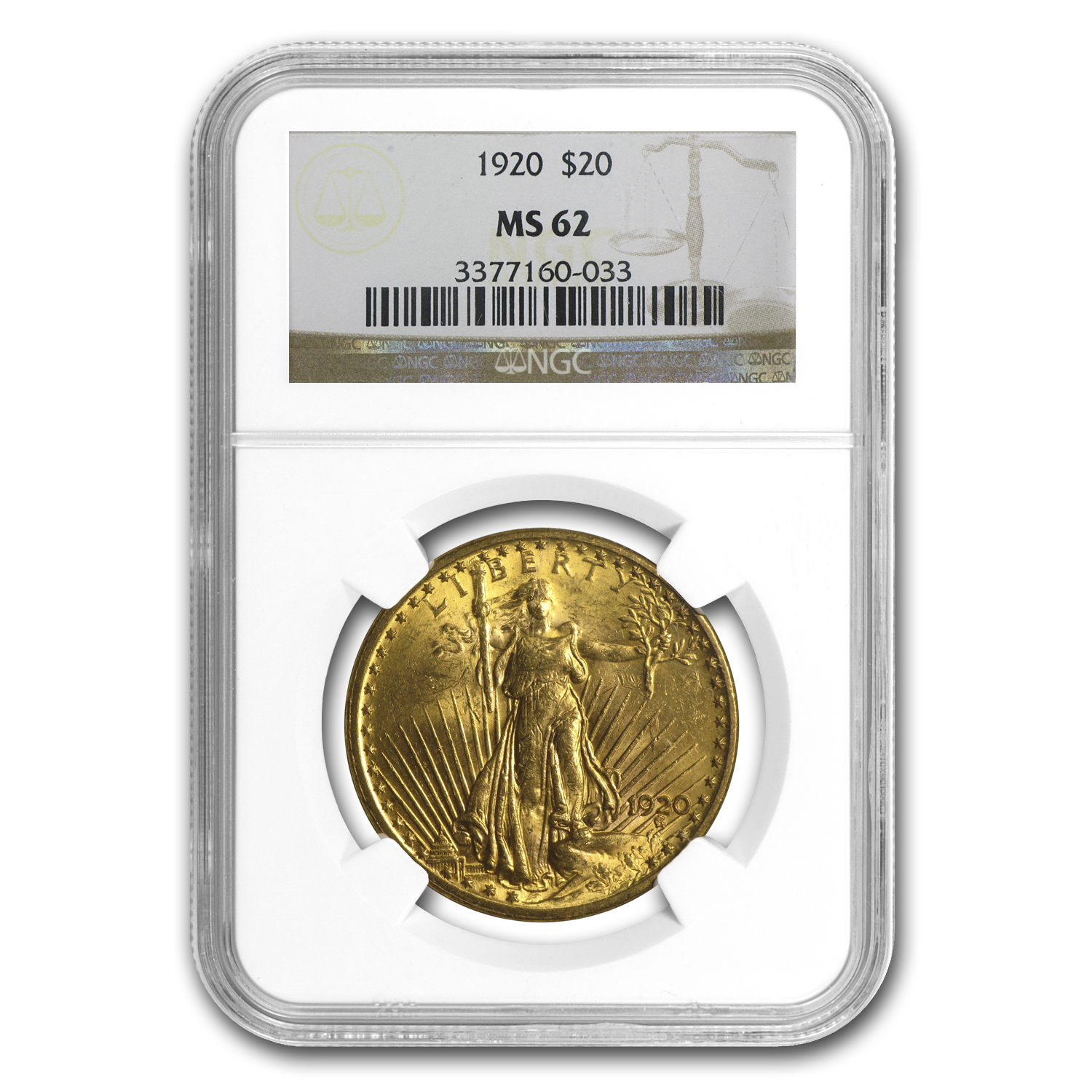 1920 $20 St. Gaudens Gold Double Eagle MS-62 NGC