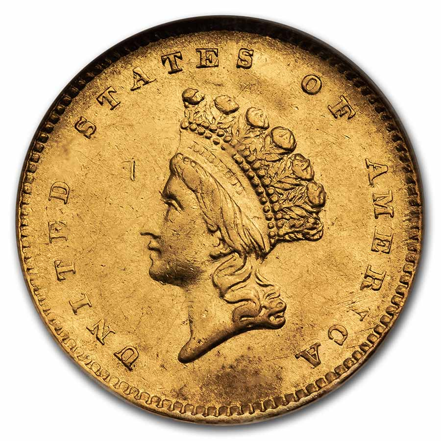 1854 (Type-2) $1 Indian Head Gold - AU-55 NGC