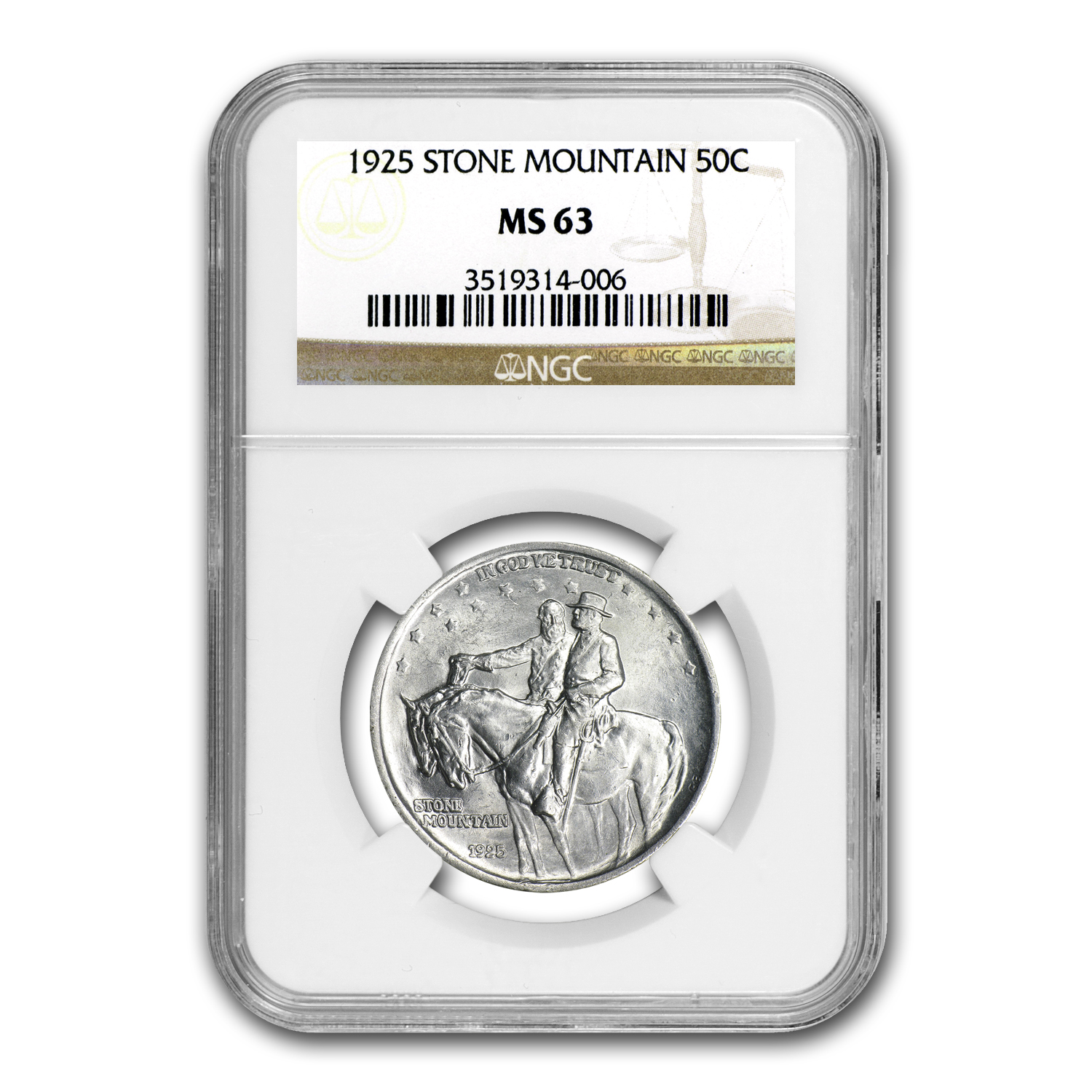 1925 Stone Mountain Memorial Half Dollar MS-63 NGC