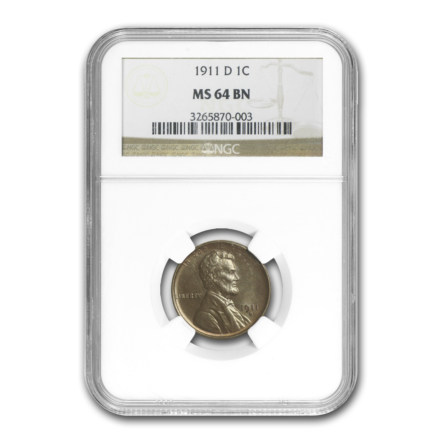 1911-D Lincoln Cent MS-64 NGC (Brown)