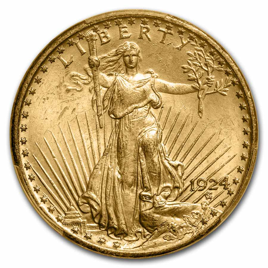 1924 $20 St. Gaudens Gold Double Eagle MS-63 PCGS