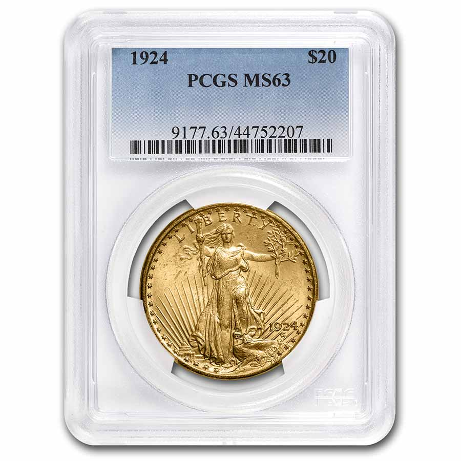 1924 $20 Saint-Gaudens Gold Double Eagle MS-63 PCGS