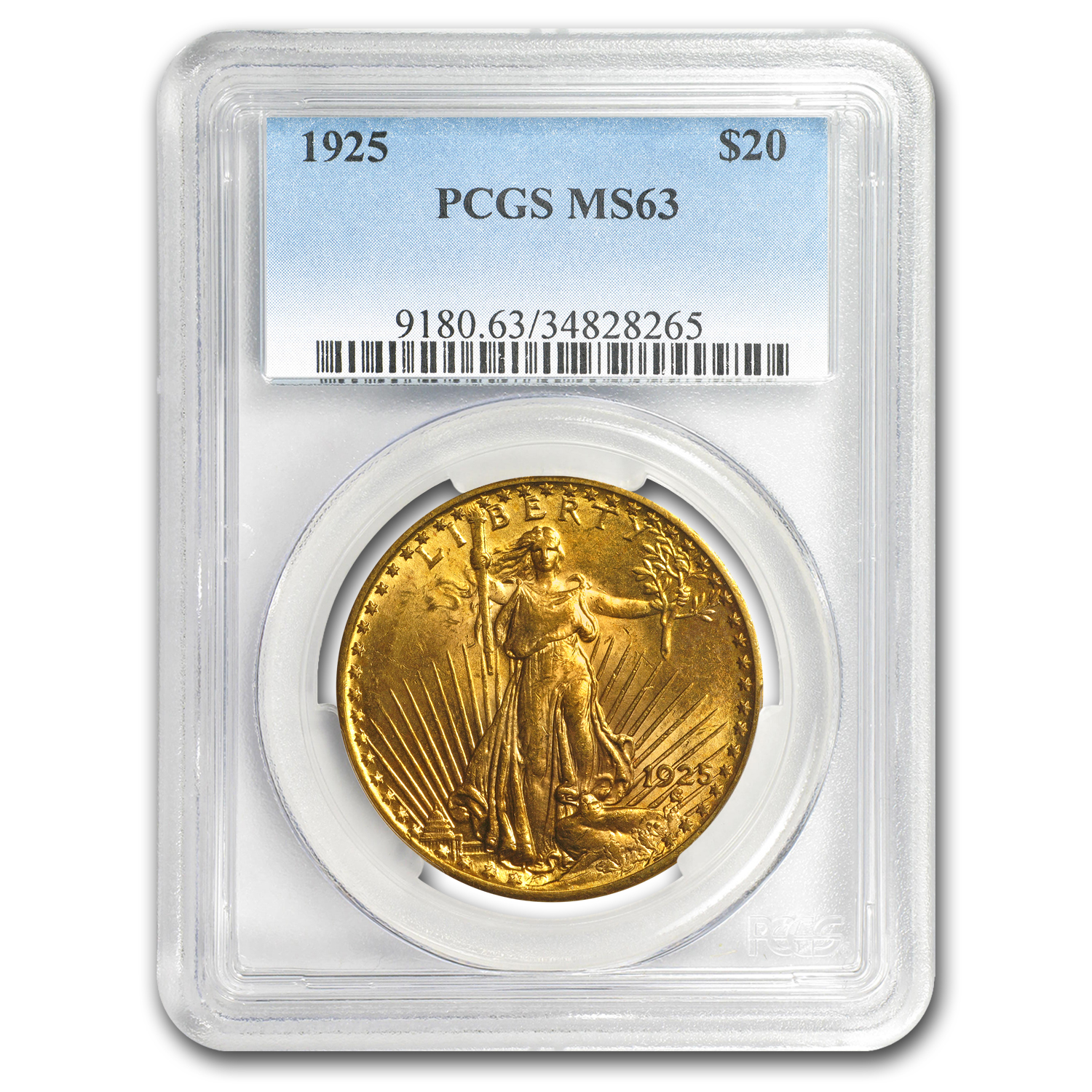 1925 $20 St. Gaudens Gold Double Eagle - MS-63 PCGS