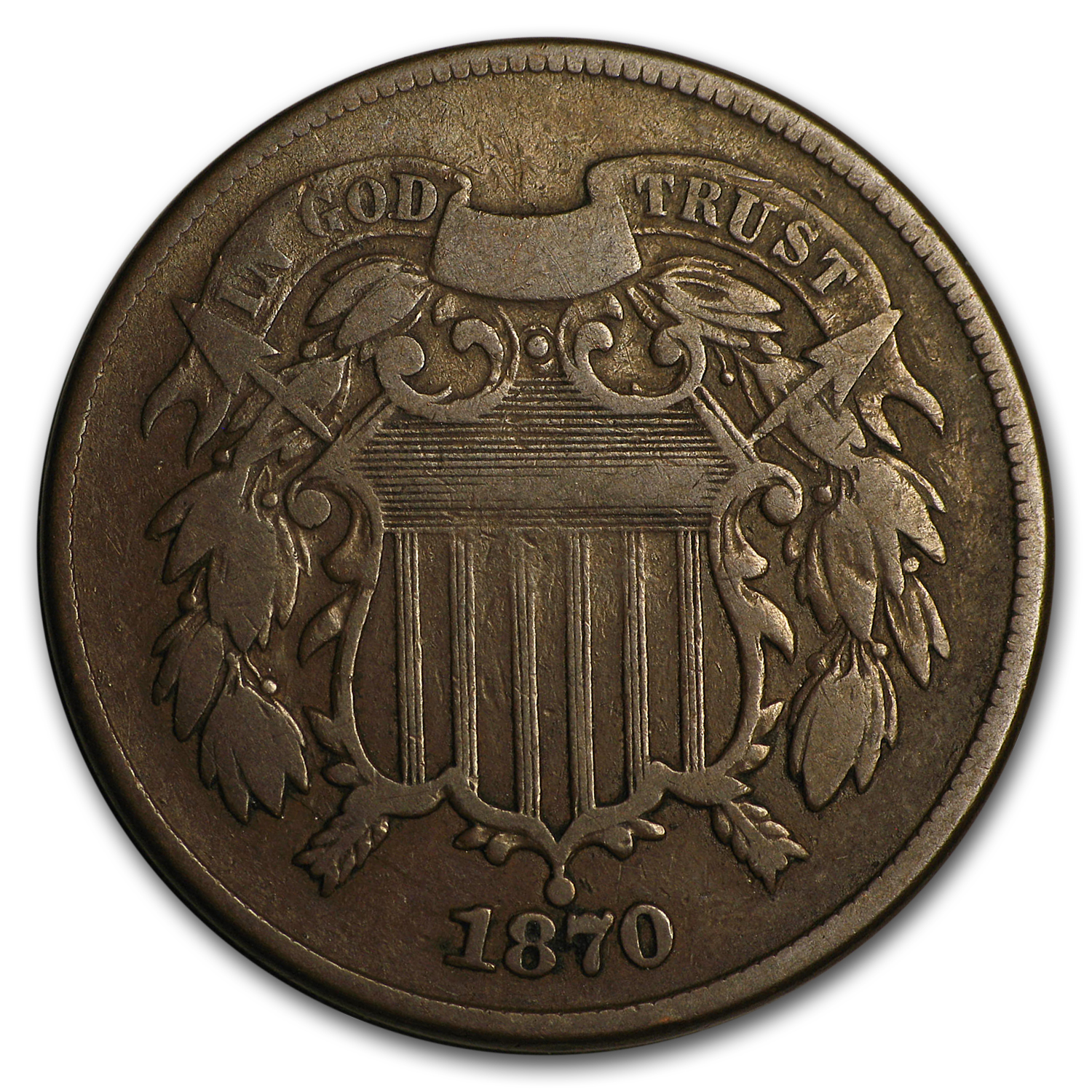 1870 Two Cent Piece Fine