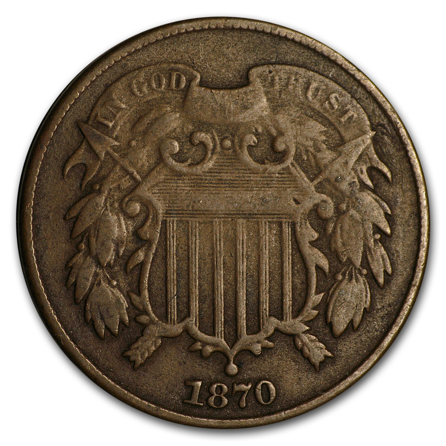 1870 Two Cent Piece VF