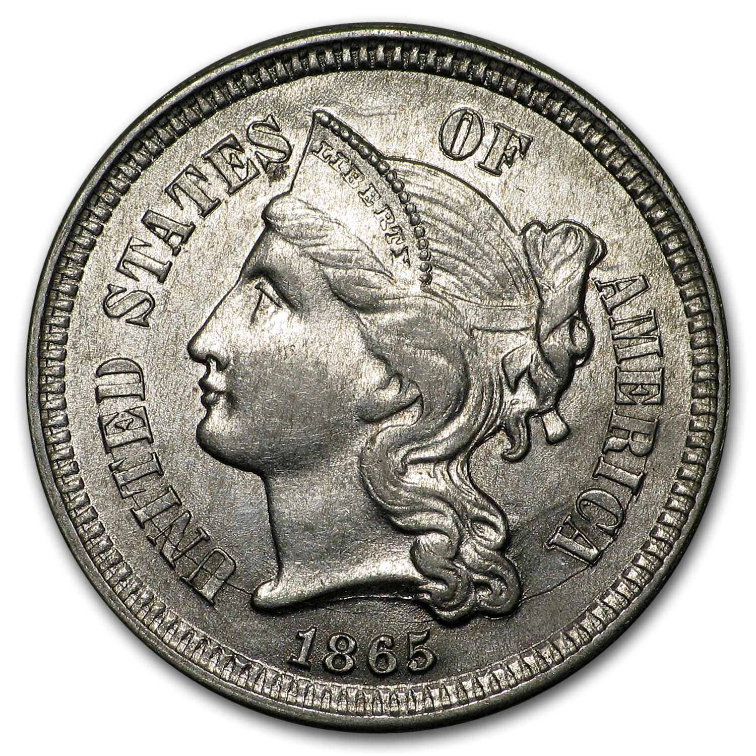 1865 3 Cent Nickel AU