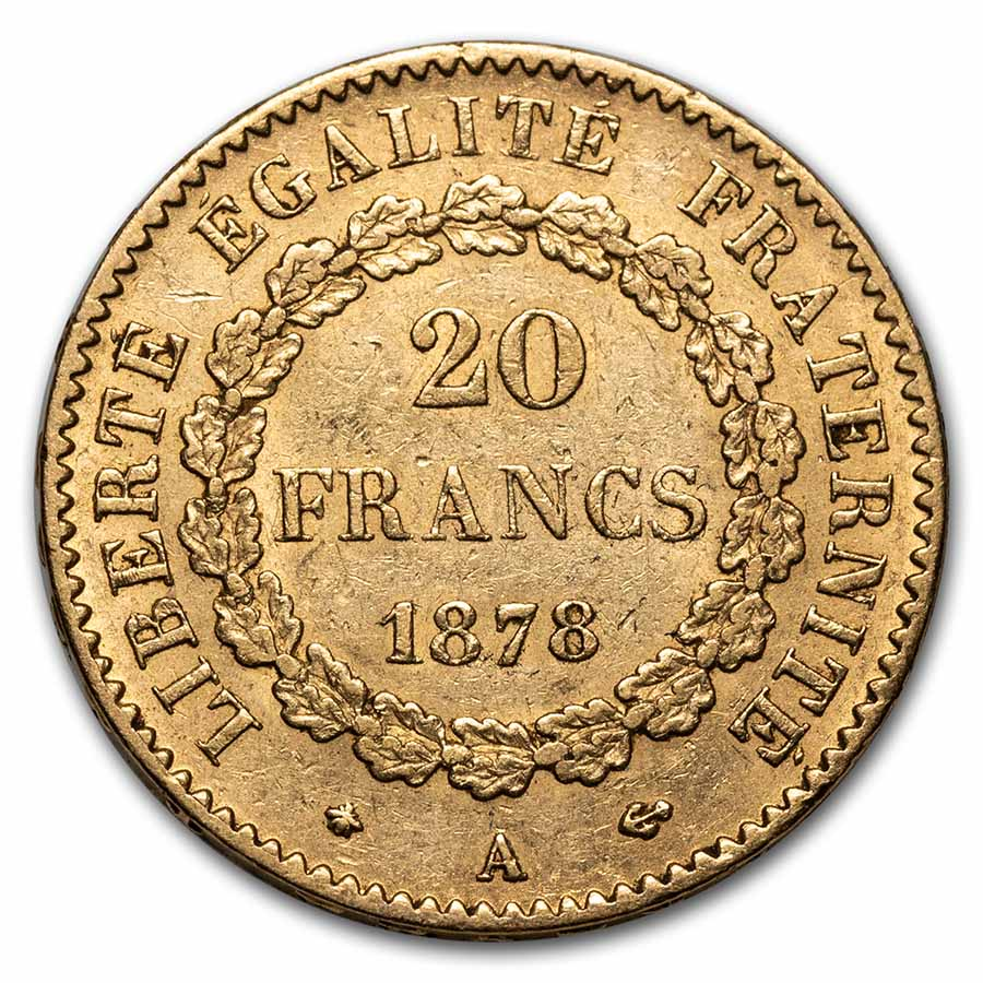France Gold 20 Francs Lucky Angel AU