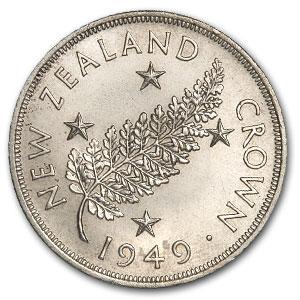 New Zealand 1949 Crown Brilliant Uncirculated Royal Visit