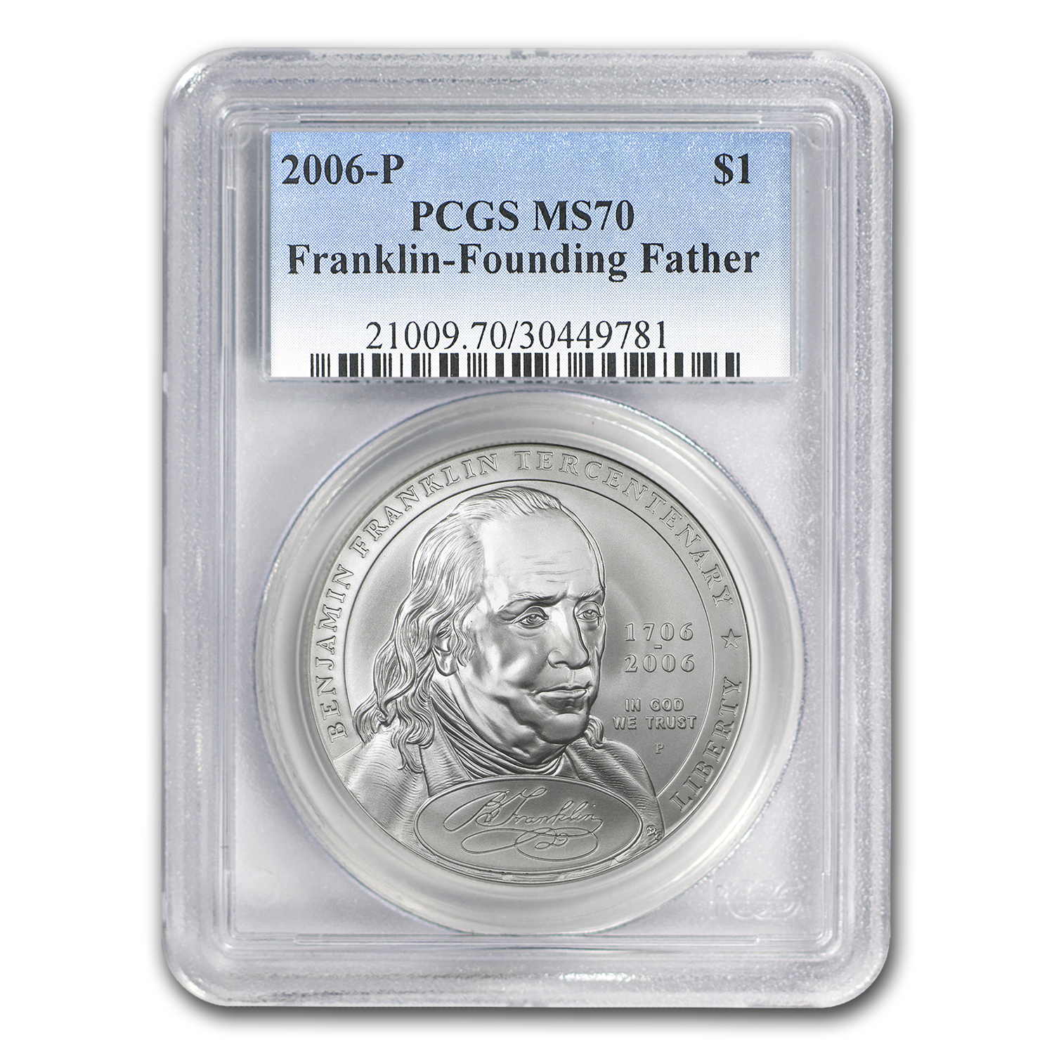 2006-P Ben Franklin Founding Father $1 Silver Commem MS-70 PCGS