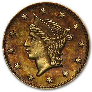 (1853) BG-222 Liberty Round 25 Cent Gold AU-55