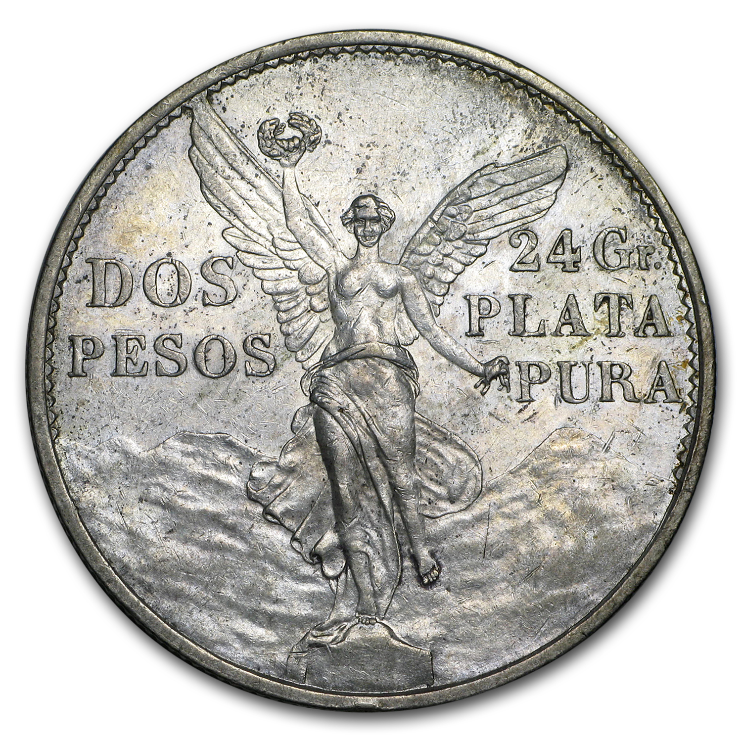 1921 Mexico Silver 2 Pesos Winged Victory AU